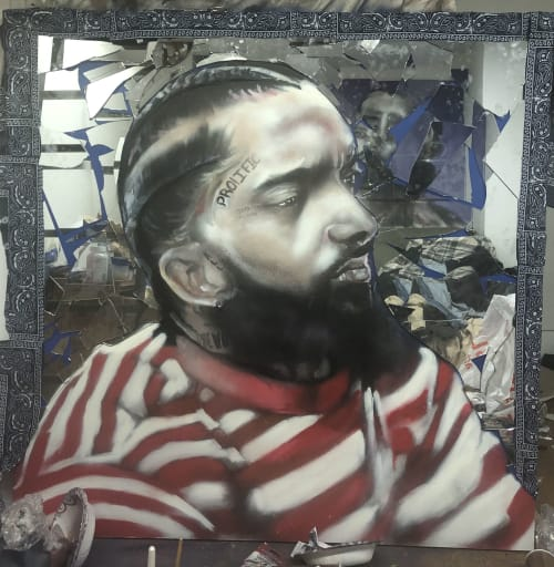 "Art & Wall Decor by Carl J Gabriel seen at Brooklyn, Brooklyn - Double Up ""R.I.P  Nipsey Hussle"""