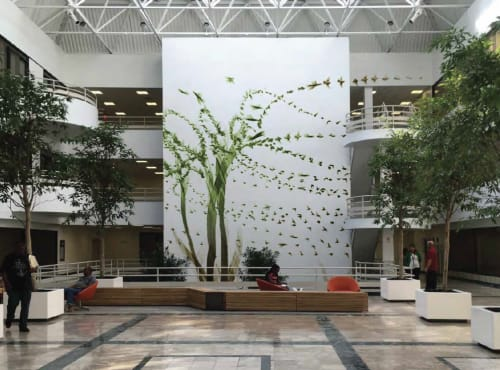Murals by Stefan Hengst Design seen at Rosedale, Queens - Lobby installation at Cross Island Plaza,
