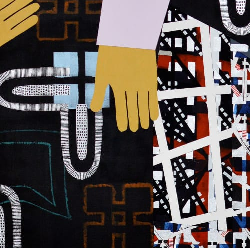 Paintings by Anuli Croon seen at Private Residence, London - Tronie & City II , 180x150cm, 2014