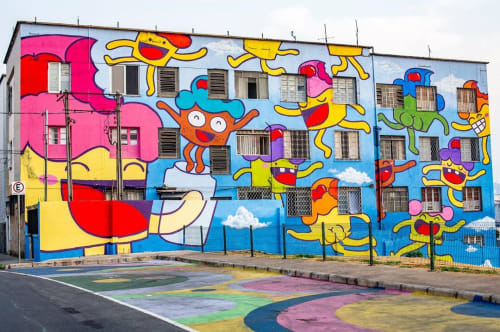 Street Murals by Bolinho seen at Private Residence, Lagoinha - Building Wall Mural