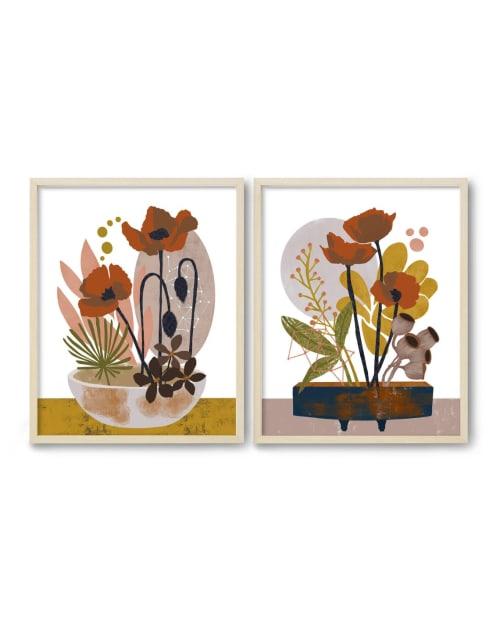 Paintings by Birdsong Prints seen at Creator's Studio, Denver - Set of 2 Floral Art Prints, Wabi Sabi