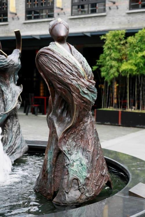 Public Sculptures by Wu Ching Ju seen at Xintiandi Ancient Lane, Huangpu Qu - Fountain of Blessings (Fu Lu Shou)