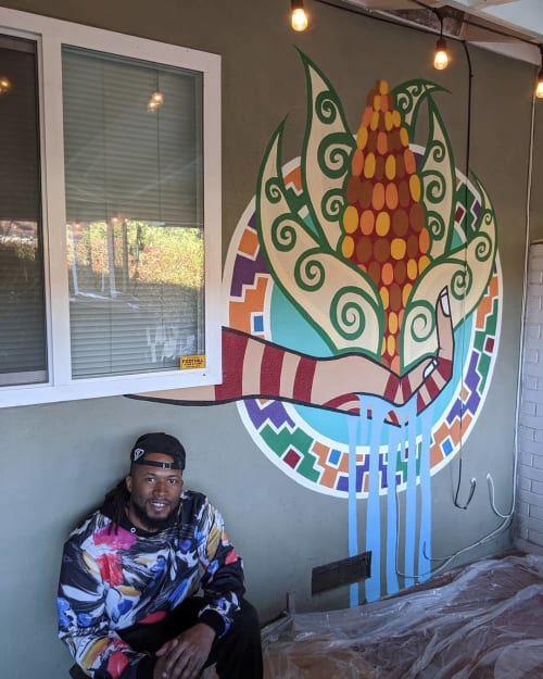 Murals by BAMR the Artist seen at Private Residence, Carmichael - Sacred Corn