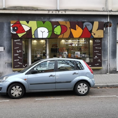 Signage by Yehiel Attias seen at Strasbourg, Strasbourg - Graffiti Sign