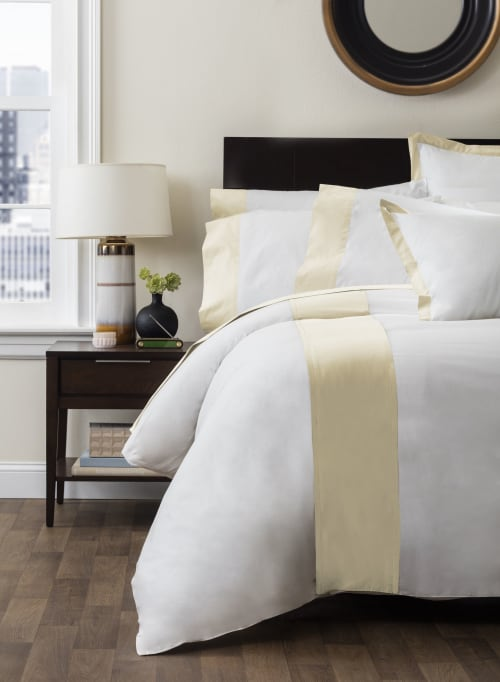 Linens & Bedding by ELEGANT STRAND seen at Private Residence - Boca Raton, FL, Boca Raton - Monte Carlo Banded Sheet Set