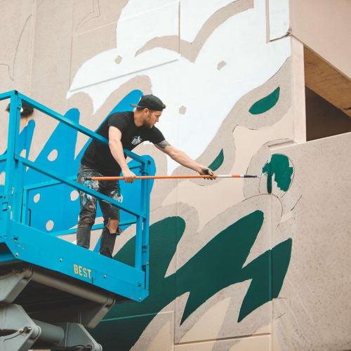 Murals by Bigshot Robot seen at Brix Apartment Lofts, Milwaukee - Fear the Deer