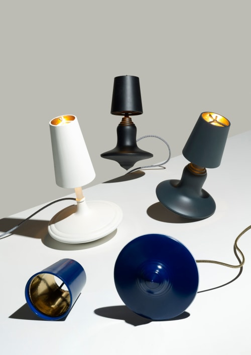 Lamps by LABEL / BREED seen at LABEL / BREED Studio, Amsterdam - Cast Metal Lights