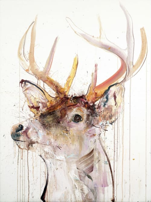 Paintings by Dave White seen at Private Residence, London - Stag V Diamond Dust Edition