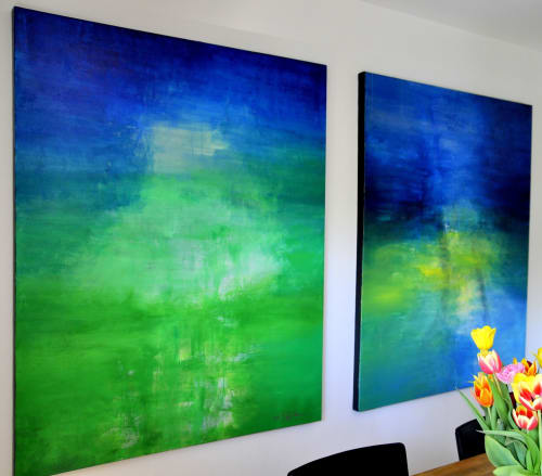 Paintings by CHRISTIAN BAHR seen at Private Residence, Norwich - POETRY OF A WARM SUMMER BREEZE (diptych)