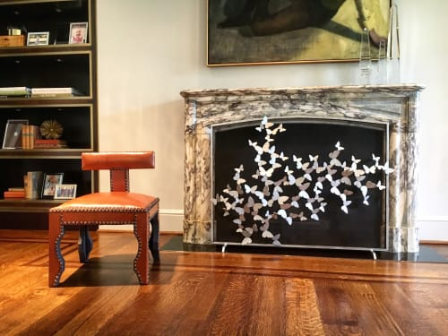 Fireplaces by Claire Crowe Collection seen at Private Residence, University Park - Butterfly Fire Screen