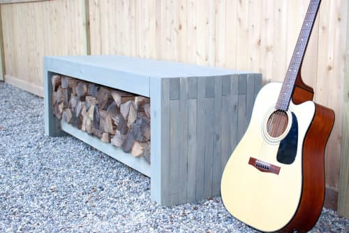 Awesome Firewood Storage Bench By 3X3 Custom Seen At Private Dailytribune Chair Design For Home Dailytribuneorg