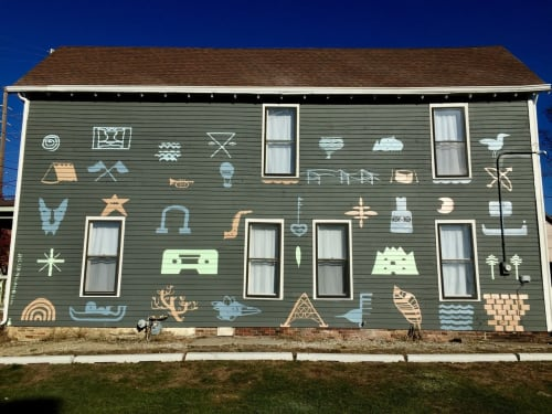 Murals by Max Kauffman seen at 717 Illinois St, Indianapolis - Indy Glyphs