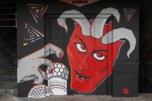 """Tape art mural  """"Devil mountain""""   Murals by Fabifa   Teufelsberg in Berlin"""