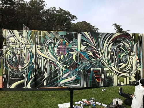 Street Murals by Max Ehrman (Eon75) seen at Golden Gate Park, San Francisco - Outside Lands 2017 murals