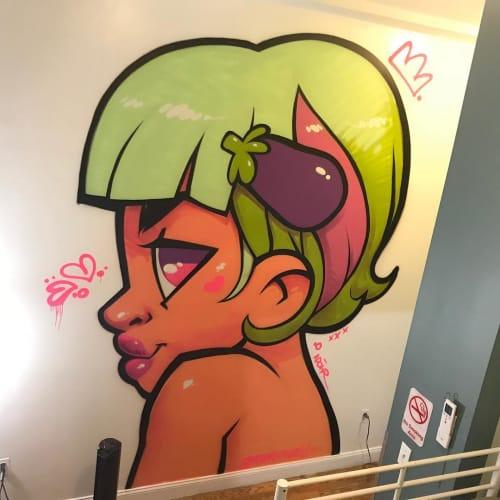 Murals by Merk Aveli seen at NY Moore Hostel, Brooklyn - Interior Mural
