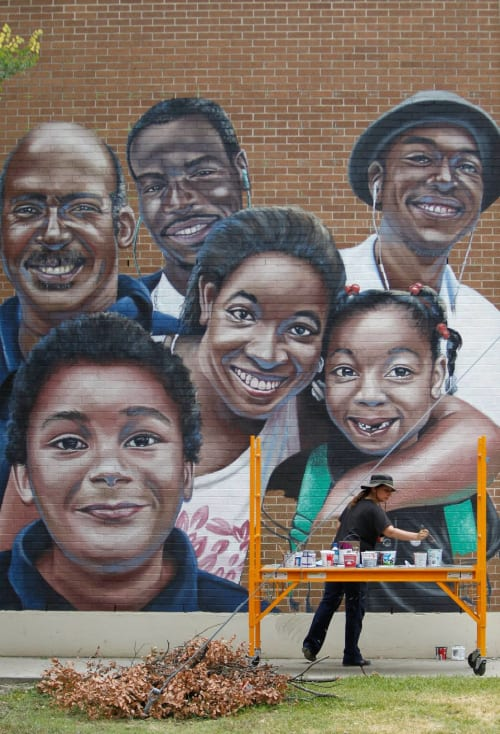 Street Murals by Anat Ronen seen at Third Ward Multi-Services Center, Houston - The Selfie mural