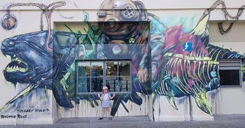 Murals by Benjamin Reeve seen at Brisbane Powerhouse, New Farm - Toxic Fish