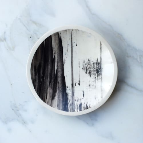 Ceramic Plates by Linda Fahey // Yonder Shop + Studio at Yonder Shop, San Francisco - Grey/black Mineral Plate