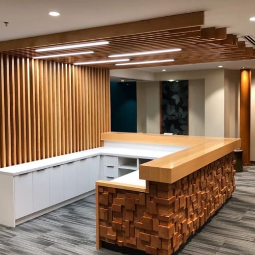 Tables by Nakedwood seen at Taiga, Vancouver - Reception Desk