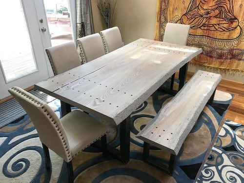 Tables by 40 North Designs seen at Private Residence, Boulder - Live Edge Dining Table and Bench