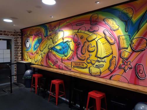 Murals by Sam Shennan seen at Kenny's Pork Rolls, Darlinghurst - Kenny's Pork Rolls Mural