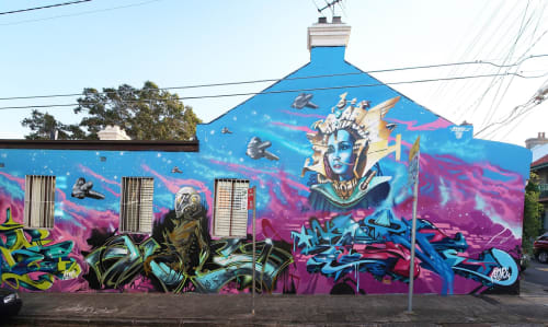 Street Murals by As One - Graffiti seen at Denison Street & Lennox Street, Newtown - The Emperor's Daughter