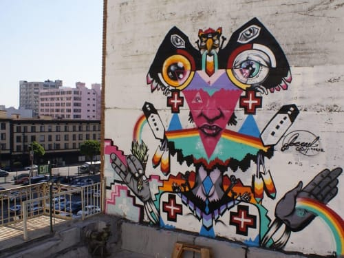 Murals by Joerael Numina seen at Downtown Los Angeles, Los Angeles - Mural