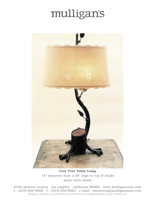 Lamps by Mulligan's at Mulligans, West Hollywood - Iron Tree Table Lamp