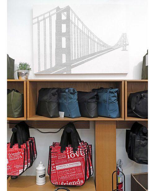 """Paintings by Mary Stengel Bentley seen at lululemon, San Francisco - """"Golden Gate Bridge"""""""