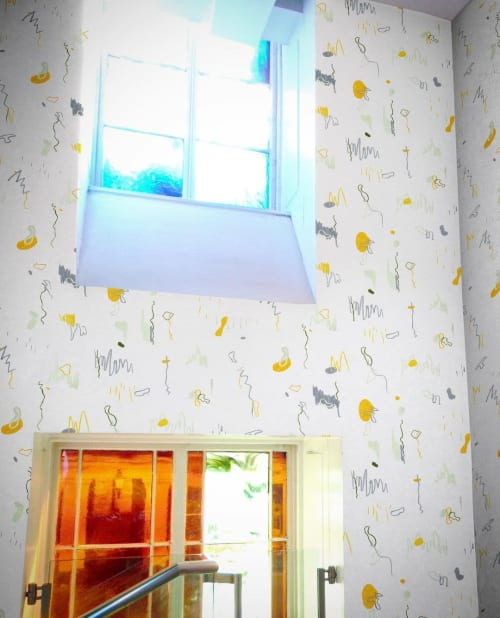 Wallpaper by Silenzio Studio seen at Private Residence, Glasgow - Villefranche View in Lemon superwide wallpaper