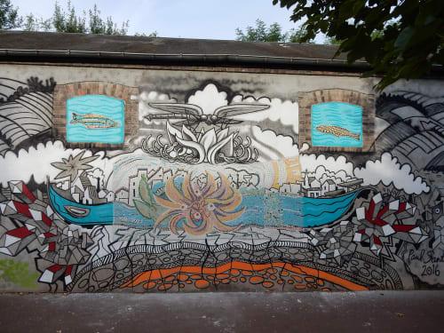 Street Murals by Paul Santoleri seen at Briare, France, Briare - Light of the Loire (Briare)