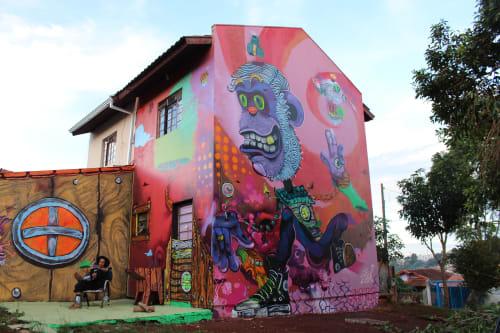 Murals by Léo Araújo seen at Cascavel - Proteja seus valores