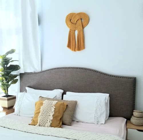 Macrame Wall Hanging by YaShi Handmade seen at Private Residence, Milpitas - Eternal Love Knot- Mustard