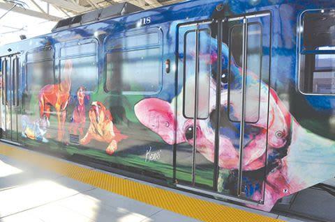Street Murals by Kerri Warner seen at Sacramento, Sacramento - Regional Transit Train