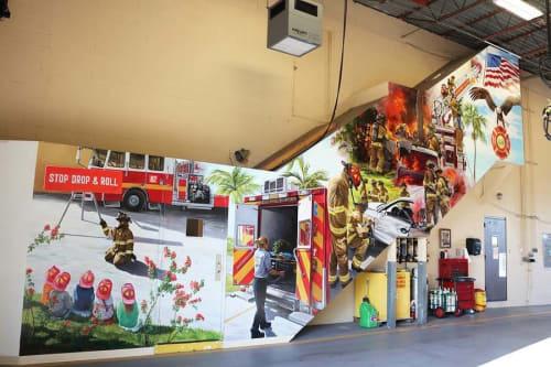 Murals by Murals by Georgeta (Fondos) seen at Oakland Park, Oakland Park - Firefighters mural