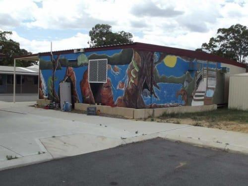 Street Murals by Brushstrokes Designs seen at Neerigen Brook Primary School, Armadale - Garden Gazebo/Waterfall- 2012