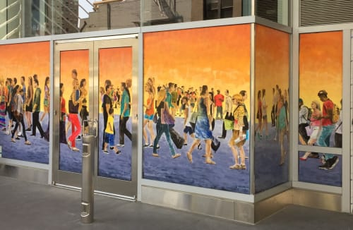 Street Murals by Arran Harvey seen at Salesforce Transit Center, San Francisco - Street Crowd, 2018, 7 x 34 ft, Acrylic on glass,