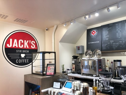 Signage by Lesley Johnson seen at Jack's Stir Brew Coffee, New York - Custom Sign and Chalk Menu