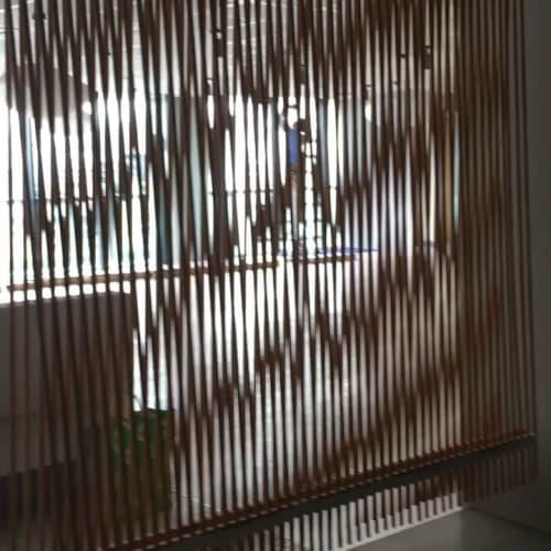Wall Treatments by AKIKOKENMADE seen at INUA, Chiyoda City - Wood Curtain