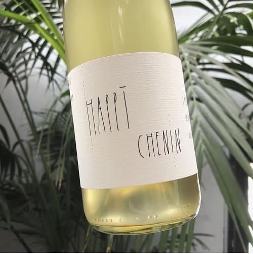 Signage by Marta Elise Johansen seen at Broc Cellars, Berkeley - Happy Chenin Wine Label
