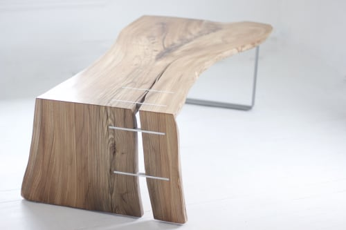 Tables by Wolf Wood Co seen at Googleplex, Mountain View - Elm + Silver Inlay Waterfall Tables