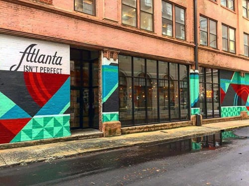 Murals by Tes Arlette seen at Switchyards Downtown Club, Atlanta - Atlanta Isn't Perfect