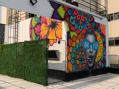 Murals by Alma Salgada seen at Rua Quinze de Novembro, 8, Centro - Have Fun!