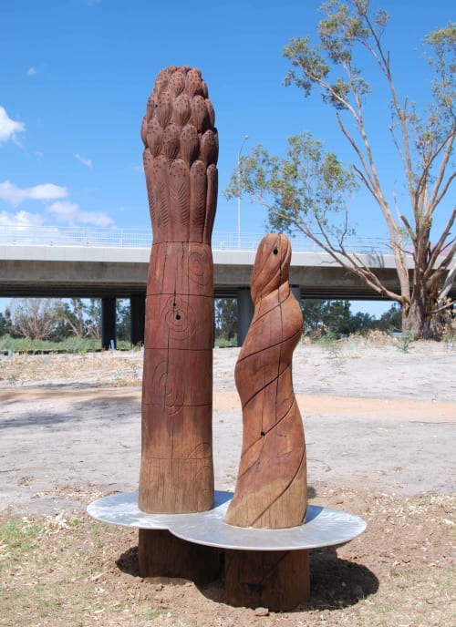 Public Sculptures by Andrew Kay seen at Swan River - The Swan River flows under the old Whiteman Bridge