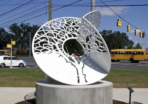 Public Sculptures by Billy Lee seen at Charlotte-Mecklenburg Police Department Main Headquarters, Charlotte - Canopy