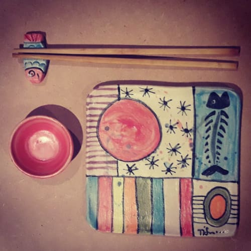 Tableware by Cécile Brillet, Tierra i fuego ceramics seen at Private Residence, Oviedo - Sushi Set
