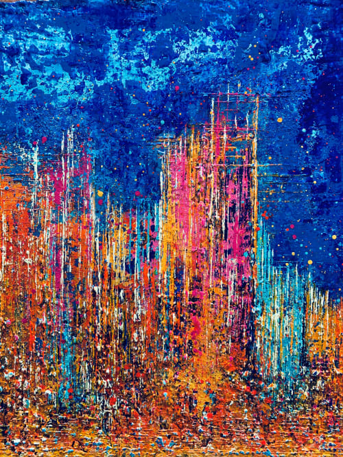Paintings by Alicent Art seen at Private Residence, London - Skyline Reflections