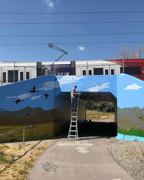 Street Murals by Josh Scheuerman seen at Jordan River Parkway Trail, Salt Lake City - 60s Mural