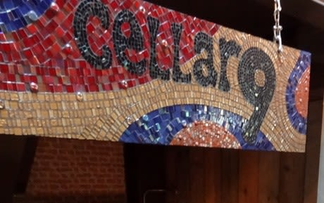 """Signage by Julie Vernon seen at baresca, Nottingham - """"Project 3 – Mosaic Signage"""""""