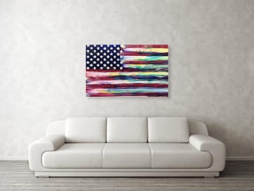 Paintings by Dutch Montana Art seen at Balboa Island, Newport Beach - The Unity Flag